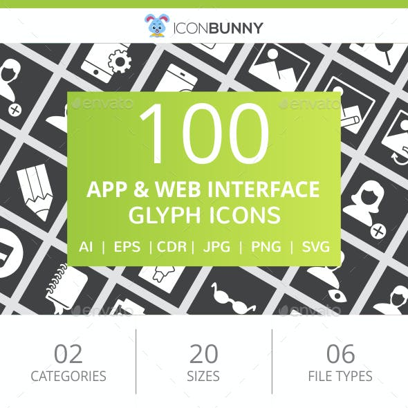 100 App & Web Interface Glyph Inverted Icons