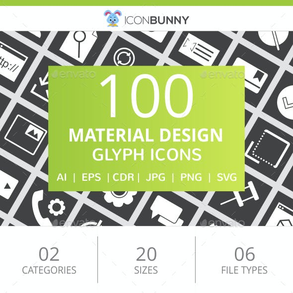 100 Material Design Glyph Inverted Icons