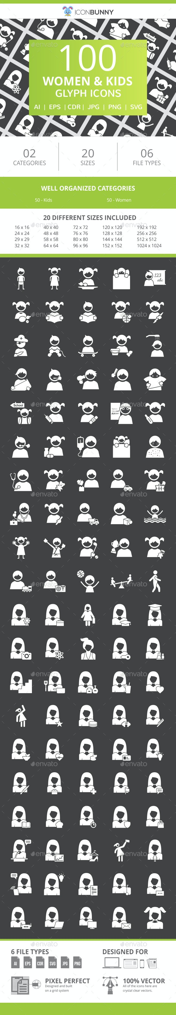 100 Women & Kids Glyph Inverted Icons - Icons
