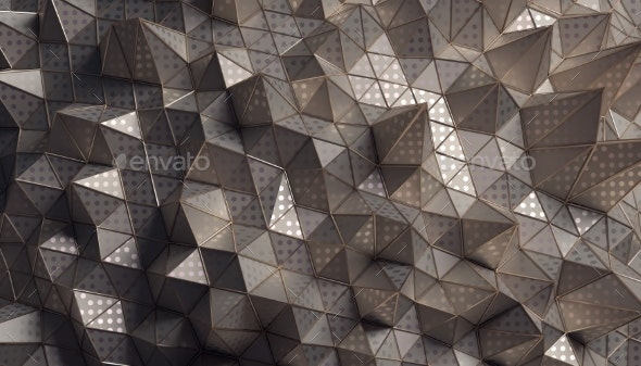 Abstract 3D Rendering of the Polygonal Surface - 3D Backgrounds