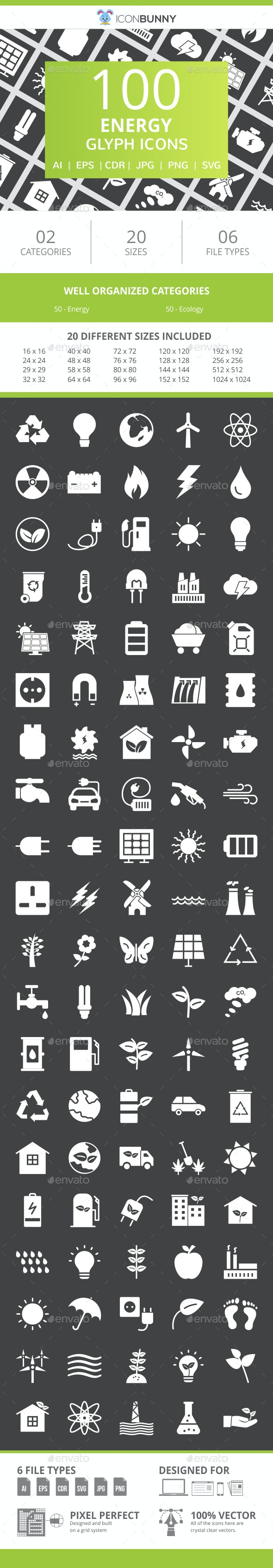 100 Energy Glyph Inverted Icons - Icons