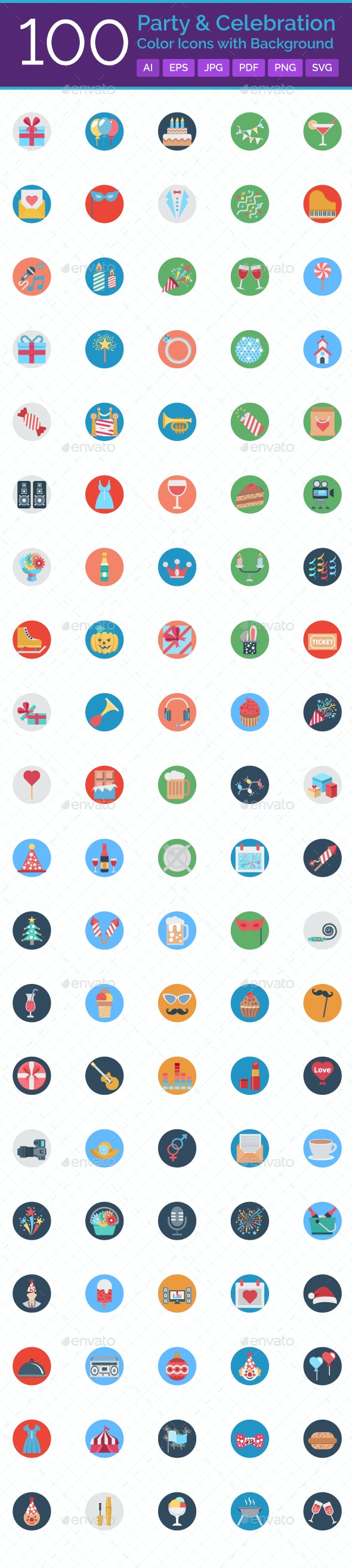 100 Party and Celebration Color Icons with Background - Icons