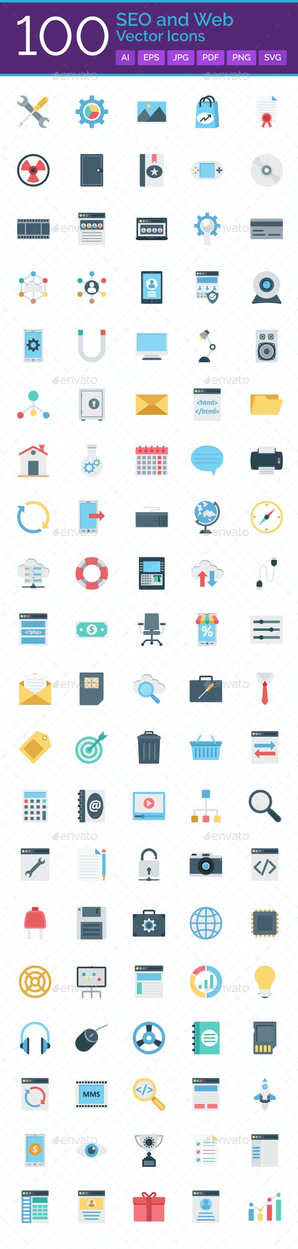 100 SEO And Web Vector Icons - Icons