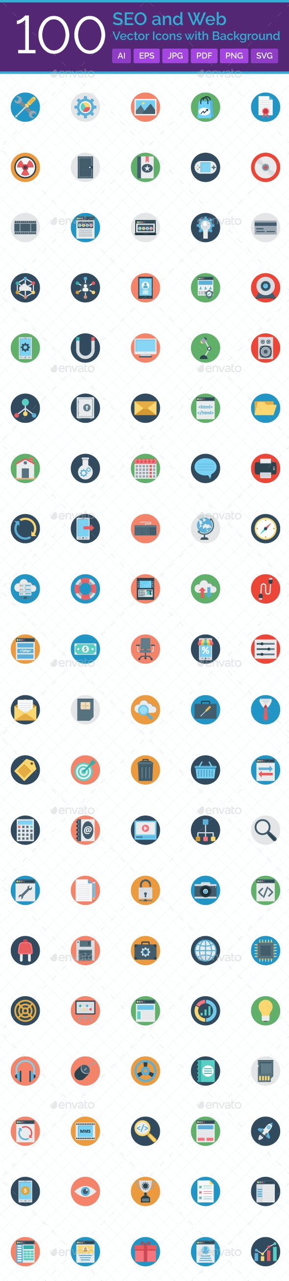 100 SEO And Web Vector Icons with Background - Icons