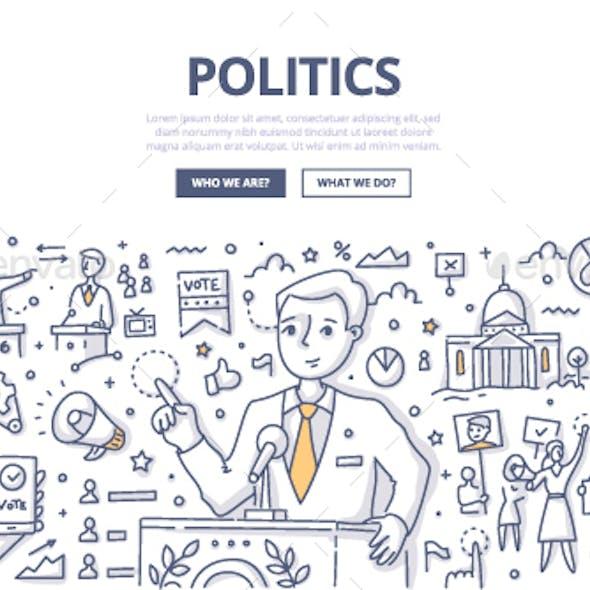 Politics Doodle Concept