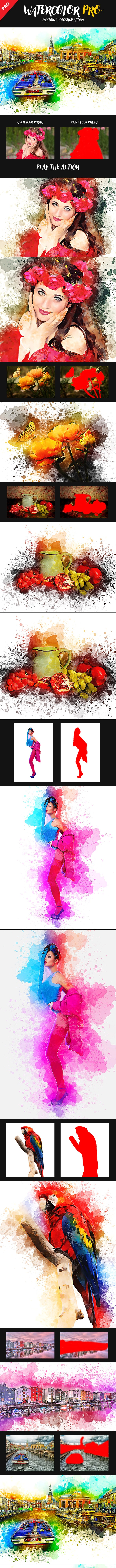 Watercolor Pro Painting Photoshop Action - Photo Effects Actions