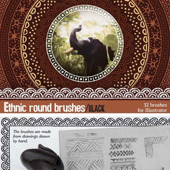 Ethnic Round Brushes, Black