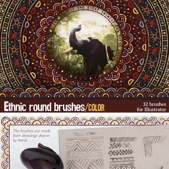 Ethnic Round Brushes, Color