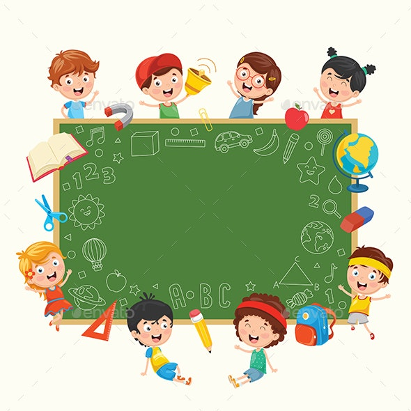 Kids Holding Blank Placard - People Characters
