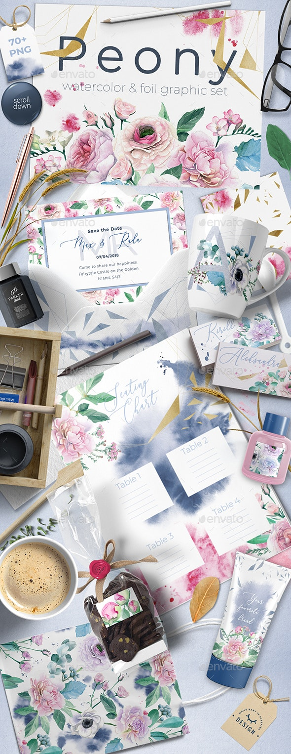 Watercolor Peony and Foil Set - Objects Illustrations