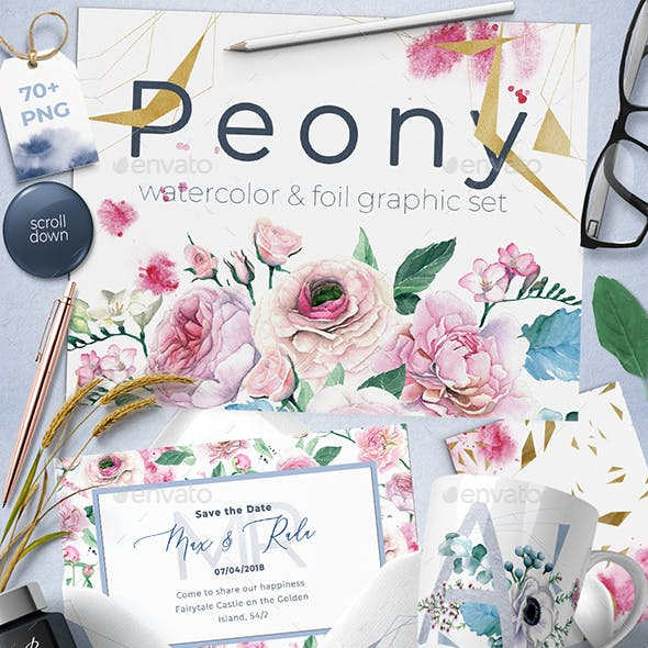 Watercolor Peony and Foil Set