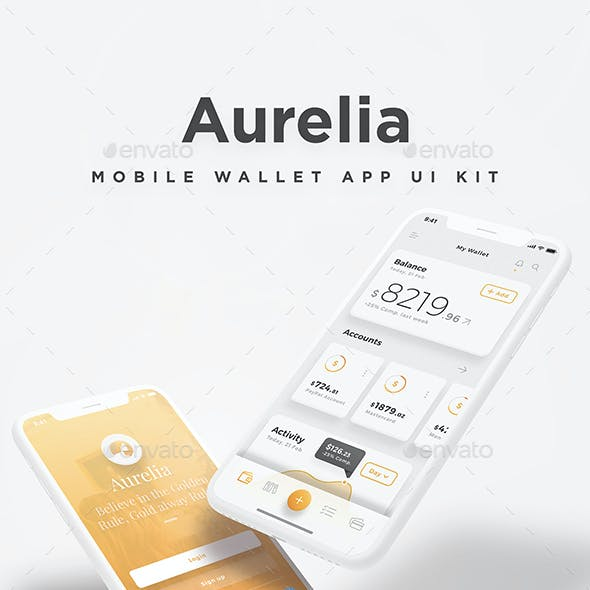 Aurelia Mobile UI Kit - Aesthetic Mobile Wallet & Crypto App UI Kit