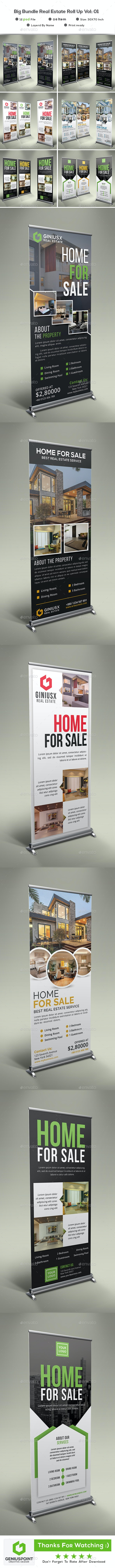 Big Bundle Real Estate Roll Up Vol: 01 - Signage Print Templates