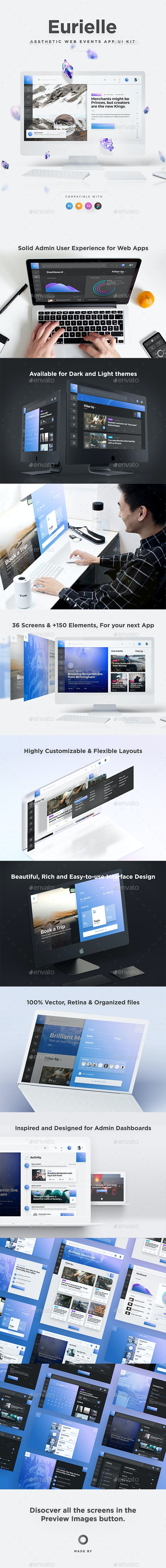 Eurielle Web - Aesthetic Events & Dashboard Web App UI Kit - User Interfaces Web Elements