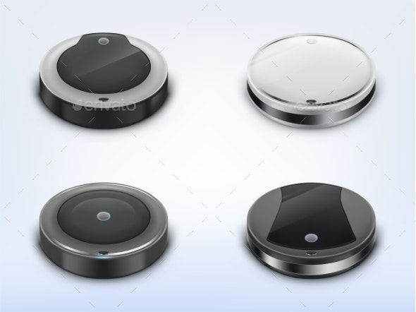 Vector Set with Round Robotic Vacuum Cleaners - Man-made Objects Objects