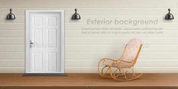 Vector Exterior Background with Veranda Facade - Backgrounds Decorative