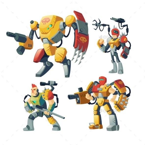 Vector Cartoon Robots