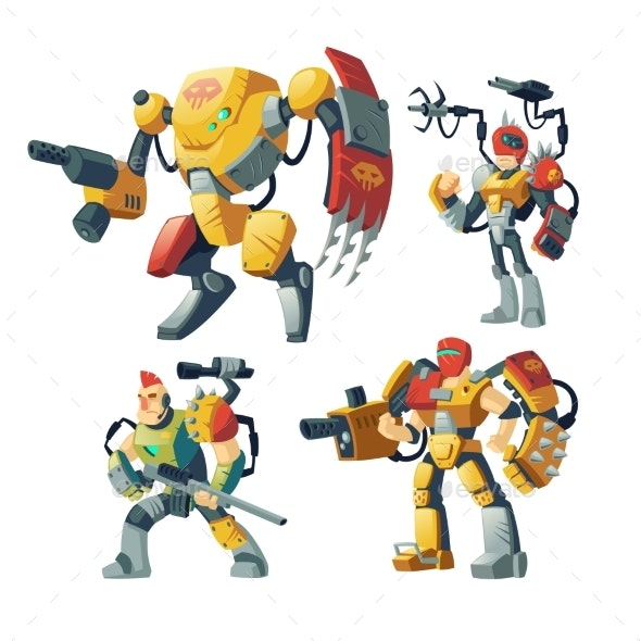 Vector Cartoon Robots - Miscellaneous Characters