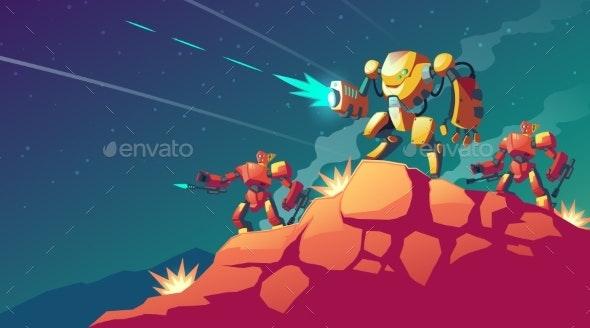 Vector Robot War on Alien Planet - Miscellaneous Characters