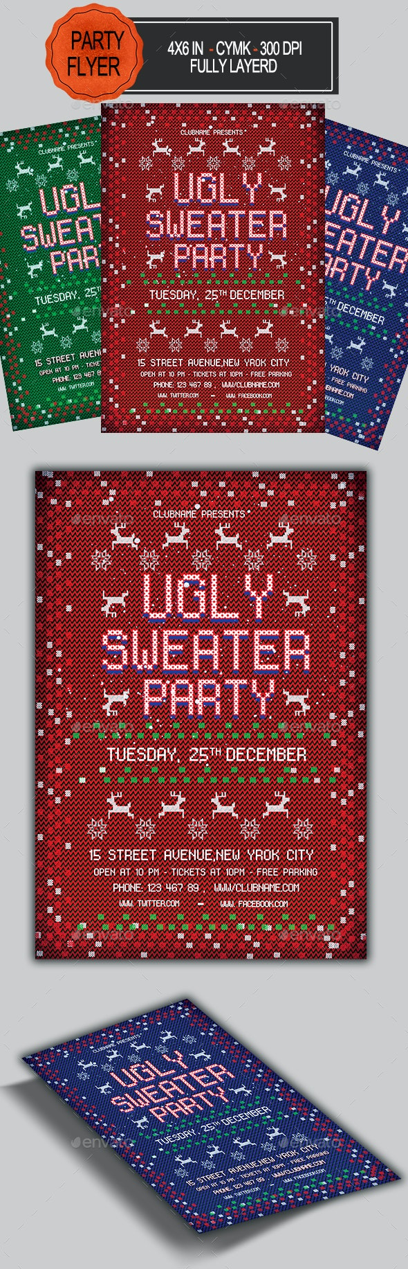 Ugly Sweater Christmas Flyer - Holidays Events