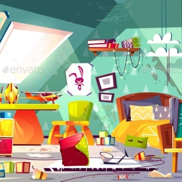 Messy Child Attic Bedroom Interior Cartoon Vector