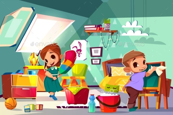 Kids Cleaning in Their Room Cartoon Vector - People Characters