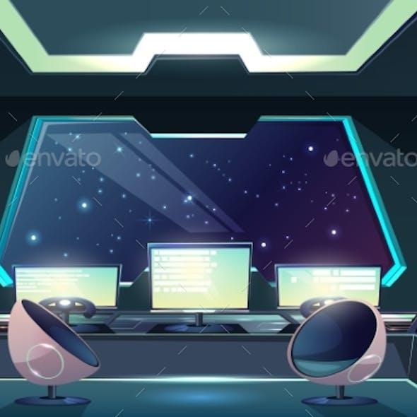 Alien Spaceship Pilot Control Panel Cartoon Vector