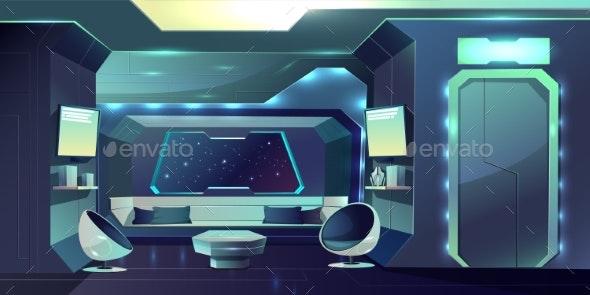 Spaceship Comfortable Crew Cabin Interior Vector - Backgrounds Decorative