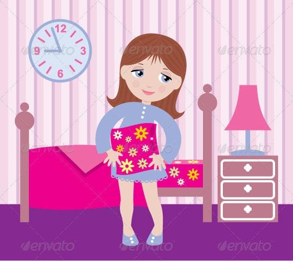 Sleepy Girl to go to Bed - People Characters