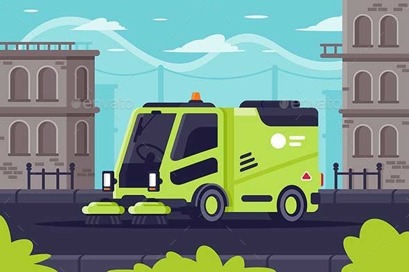 Street Cleaning Machine at Work in City - Industries Business