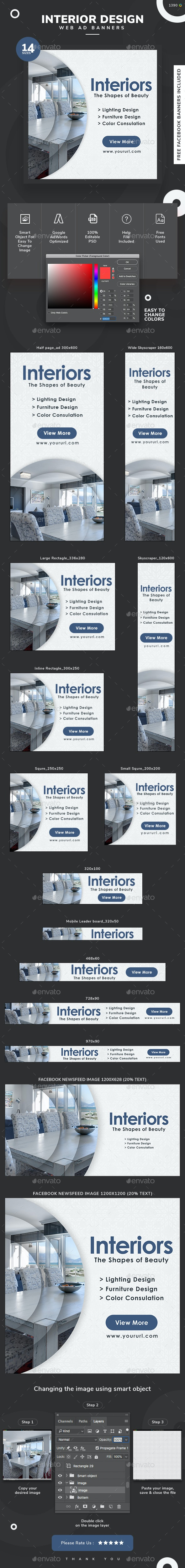 Interior Web Banner Set - Banners & Ads Web Elements