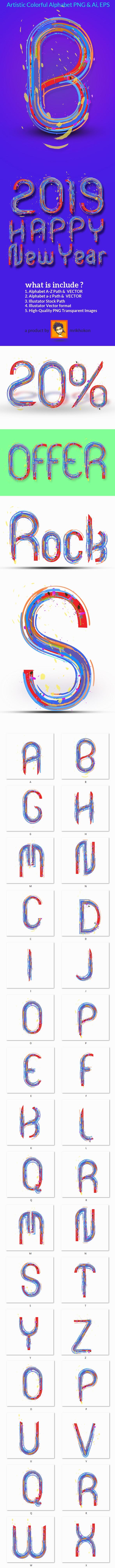 Artistic Colorful Alphabet - Brushes Illustrator