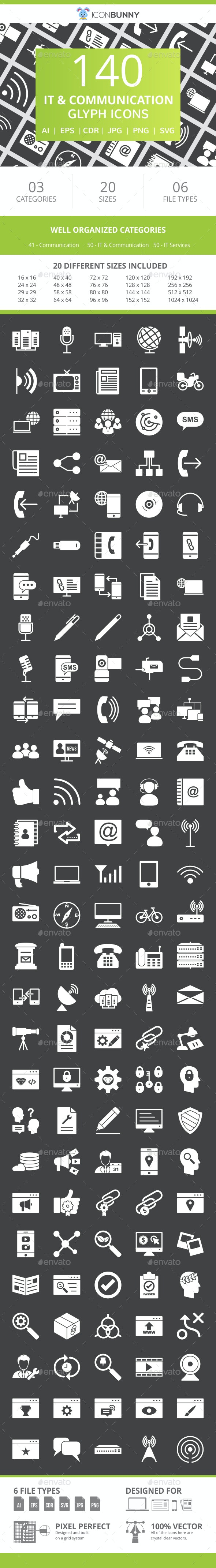 141 IT & Communication Glyph Inverted Icons - Icons