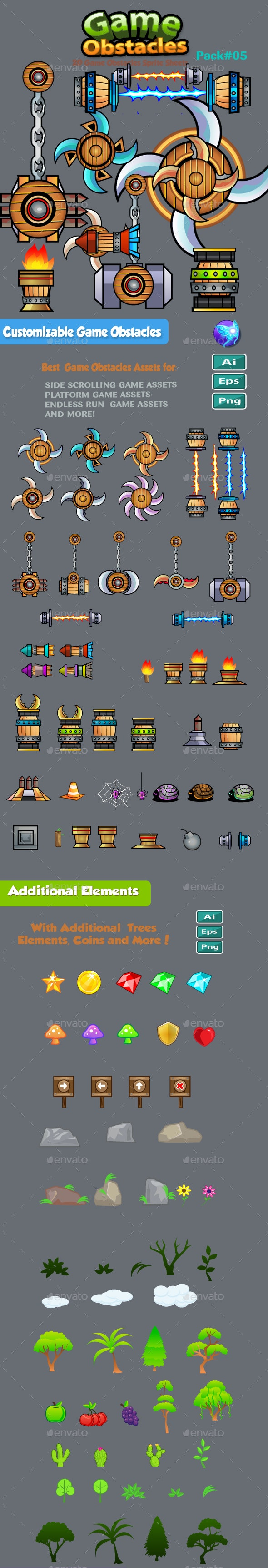 2D Game Obstacles Sprites 05 - Game Assets