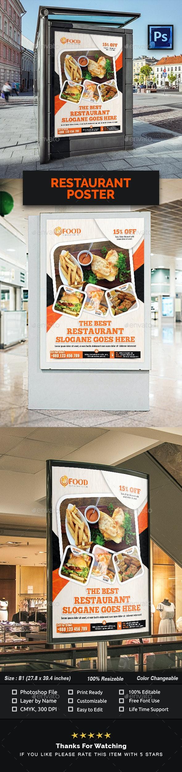 Restaurant Poster - Signage Print Templates