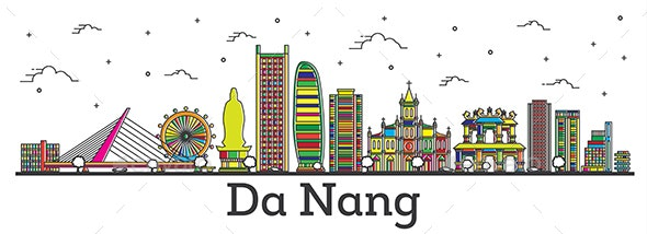 Outline Da Nang Vietnam City Skyline with Color Buildings - Buildings Objects