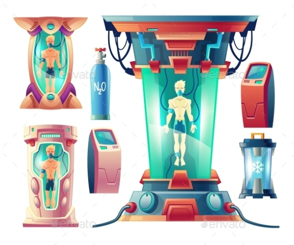 Vector Set of Futuristic Equipment for Hibernation - Man-made Objects Objects