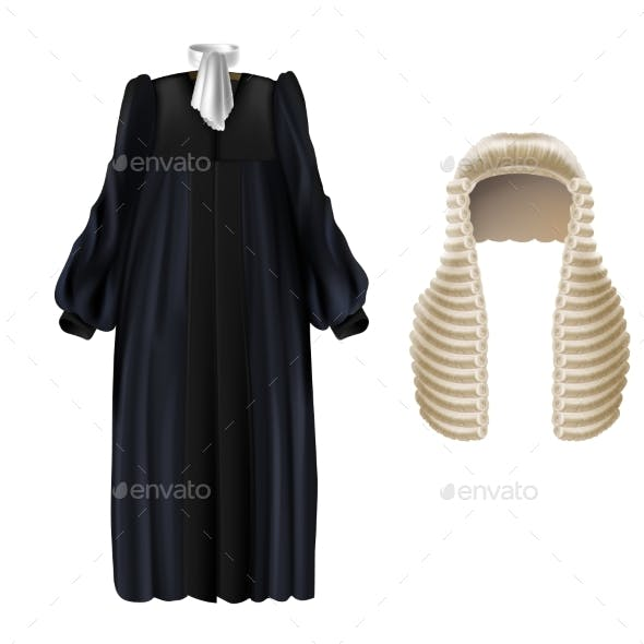 Vector Black Court Dress and Long Wig for Judges