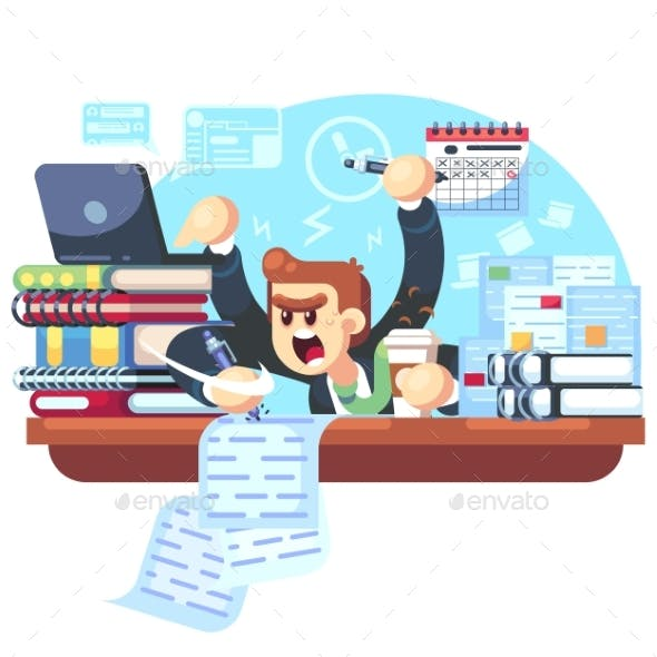Man Overworked in Office
