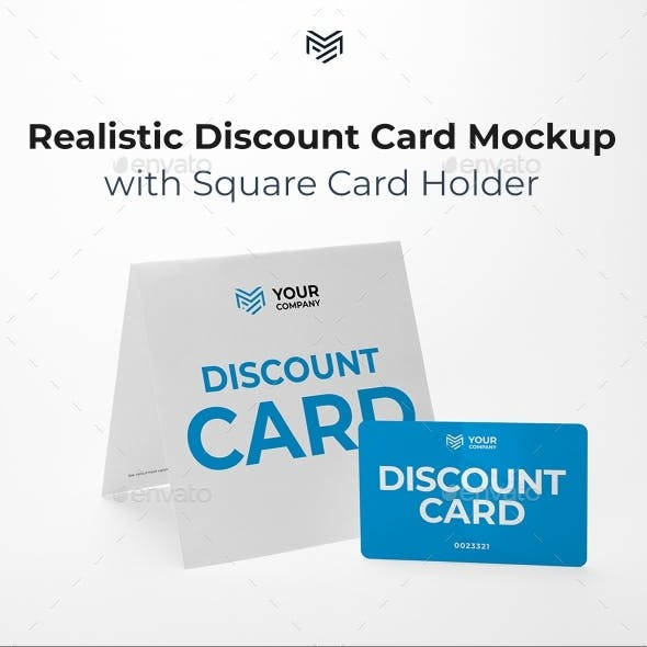Multipurpose Square Card Holder & Discount Card Mockup. Built using only professional photos.