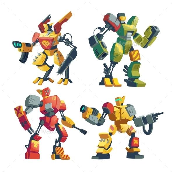 Vector Cartoon Robot Guards Futuristic Battle - Miscellaneous Characters