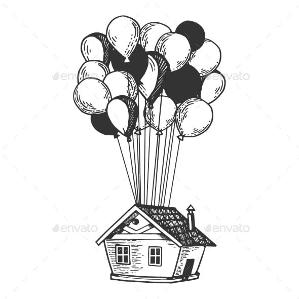 House Flying on Air Balloons Engraving Vector