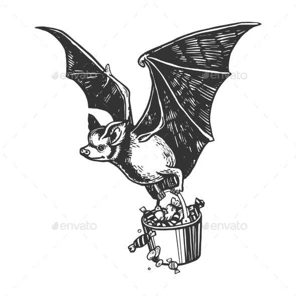 Bat Flies with Bucket of Candy Illustration - Miscellaneous Vectors