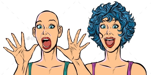 Woman Bald and with Hair, Human Health Problems - People Characters