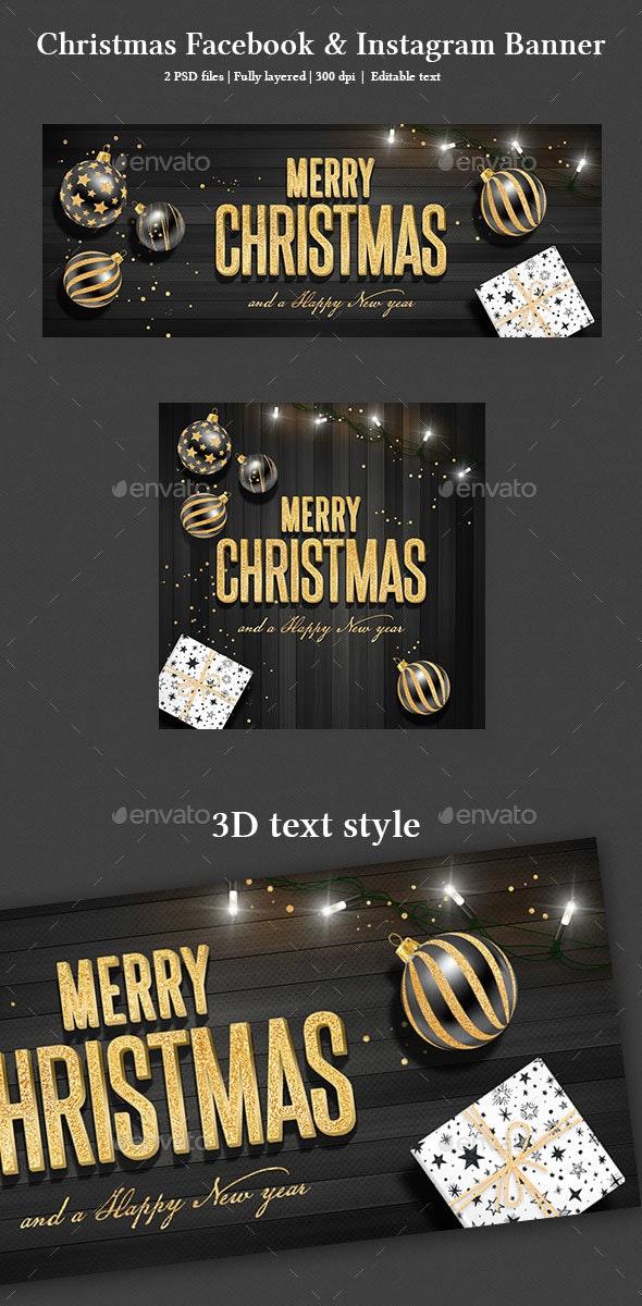 Christmas Facebook and Instagram Banner - Social Media Web Elements