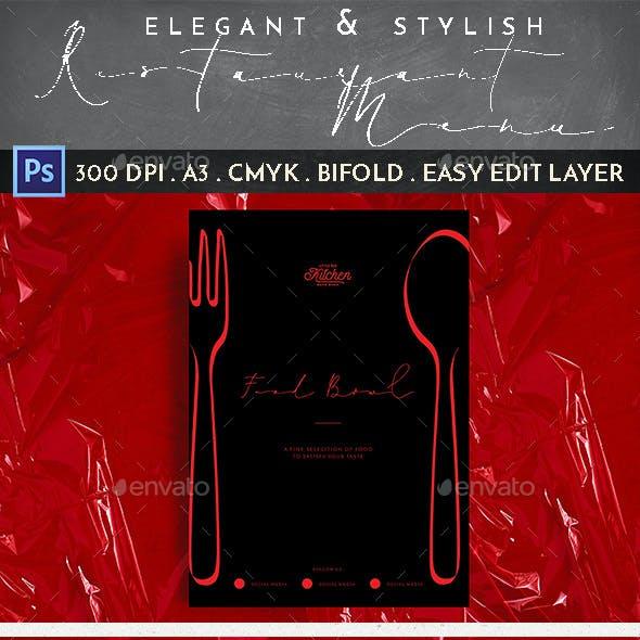 Elegant Stylish Restaurant Menu