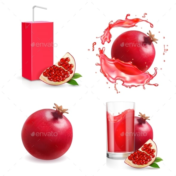 Pomegranate Juice Isolated Icons - Food Objects