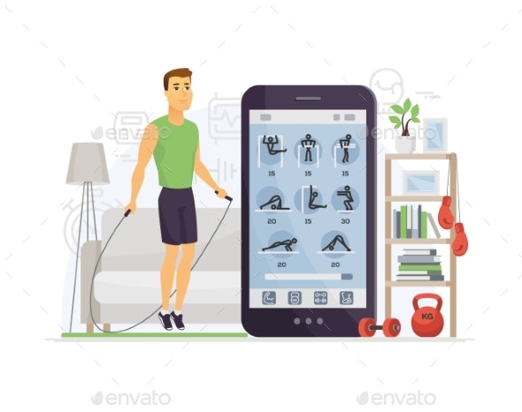Home Fitness - Modern Vector Cartoon Character - Sports/Activity Conceptual