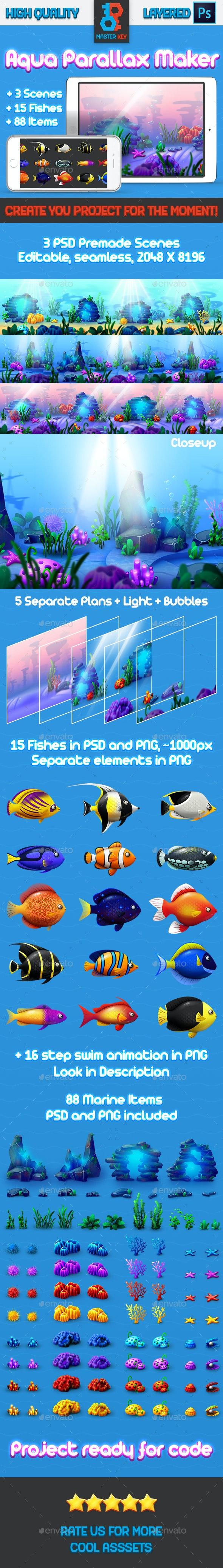 Aqua Parallax Maker - Backgrounds Game Assets