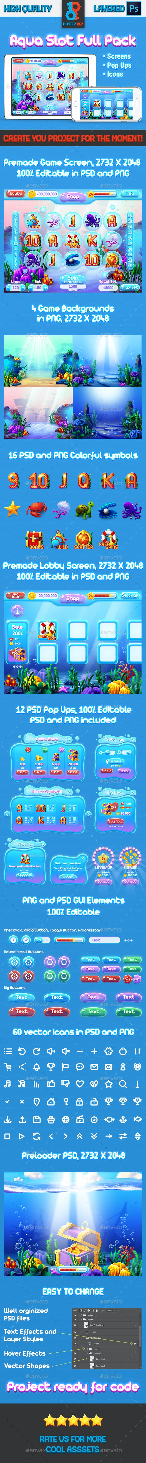 Aqua Slot Game Full Pack - Game Kits Game Assets